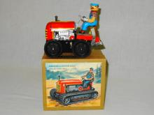 VINTAGE LITHOED TIN WIND-UP DRIVER AND TRACTOR