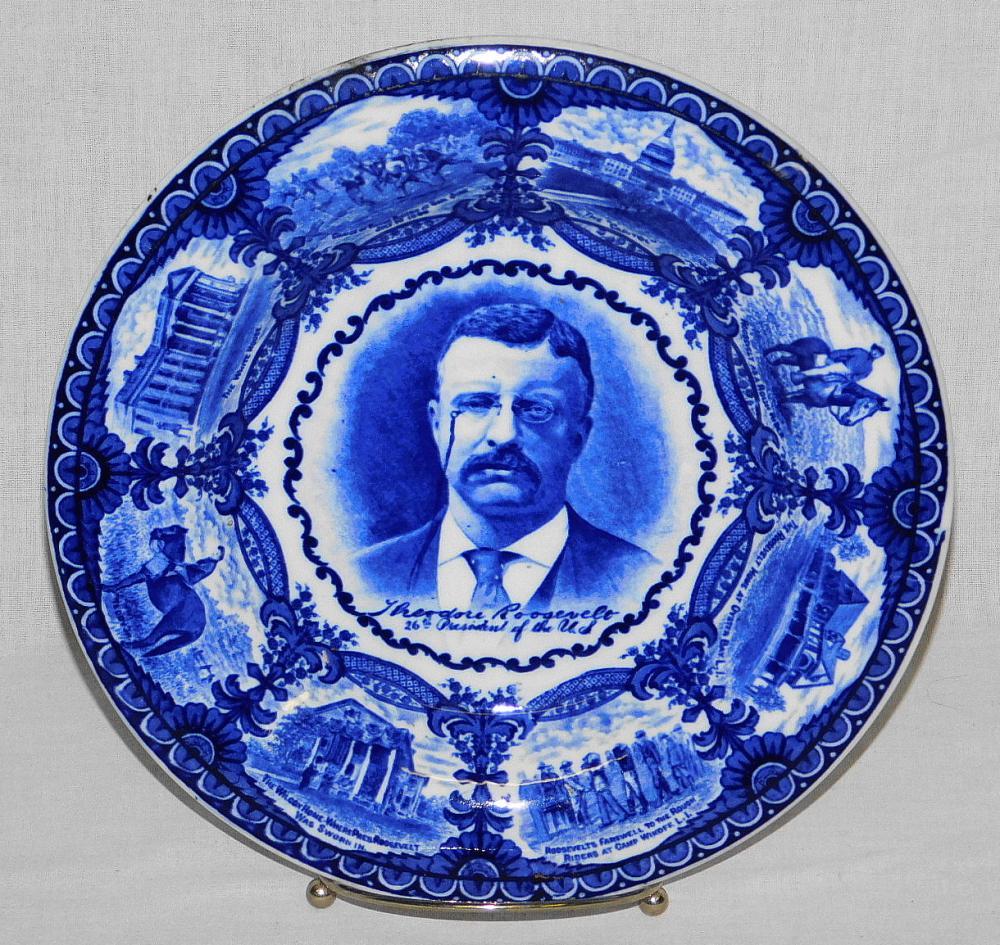 ANTIQUE THEODORE ROOSEVELT FLO BLUE PLATE