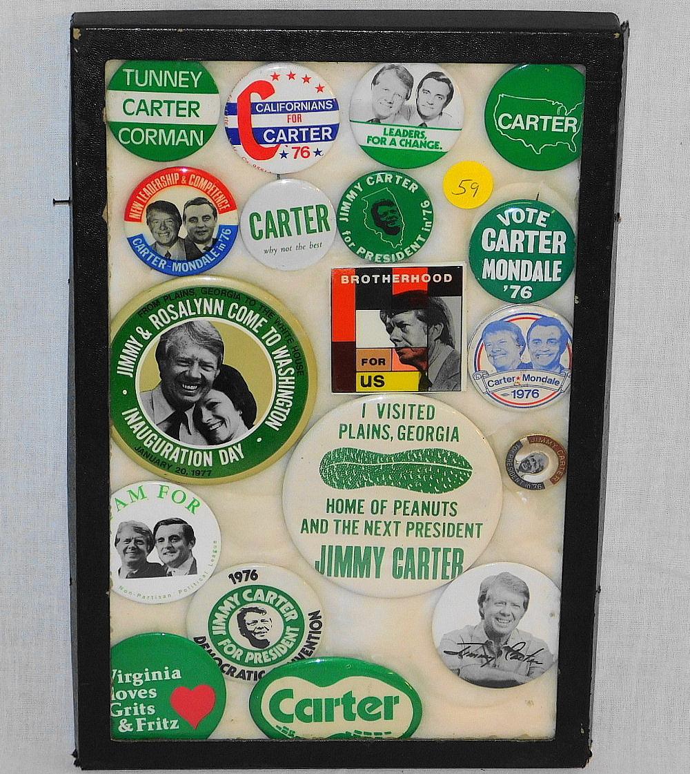 DISPLAY CASE OF VINTAGE JIMMY CARTER POLITICAL PINBACKS