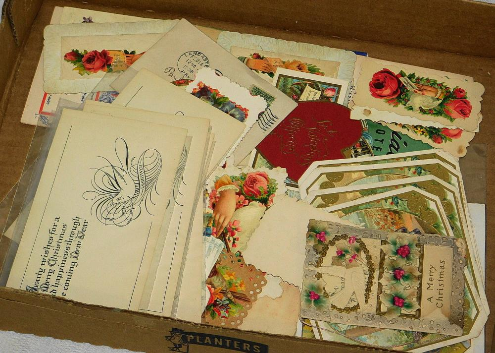 TRAY LOT OF ANTIQUE VICTORIAN GREETING CARDS, ETC.
