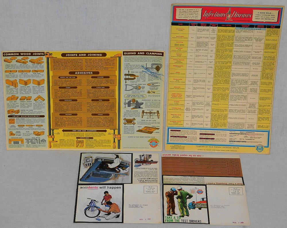 2 VINTAGE 1963 CHEVROLET SUPER SERVICE GARAGE CHARTS AND 2 CAR DEALER CUSTOMER FLIERS