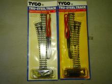 2 TYCO HO TRU-STEEL REMOTE CONTROL TRACK IN ORIGINAL BLISTER PACKS