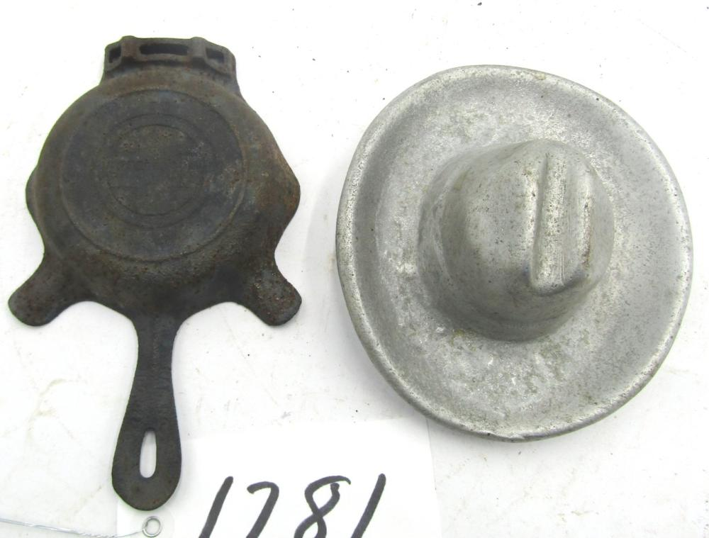 Unmarked AL Cowboy Hat Ash Tray & Griswold Ash Tray
