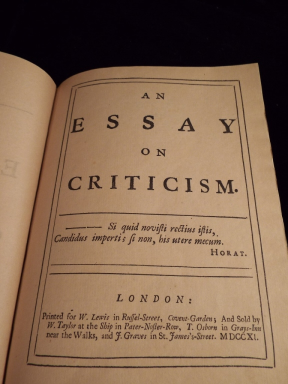 analysis of an essay on criticism by alexander pope An essay on criticism hardly indicates all that is included in the poem it would have been impossible to give a full and exact idea of the art of poetical c.