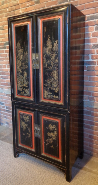 Antique Chinese Lacquer Stacking Cabinet
