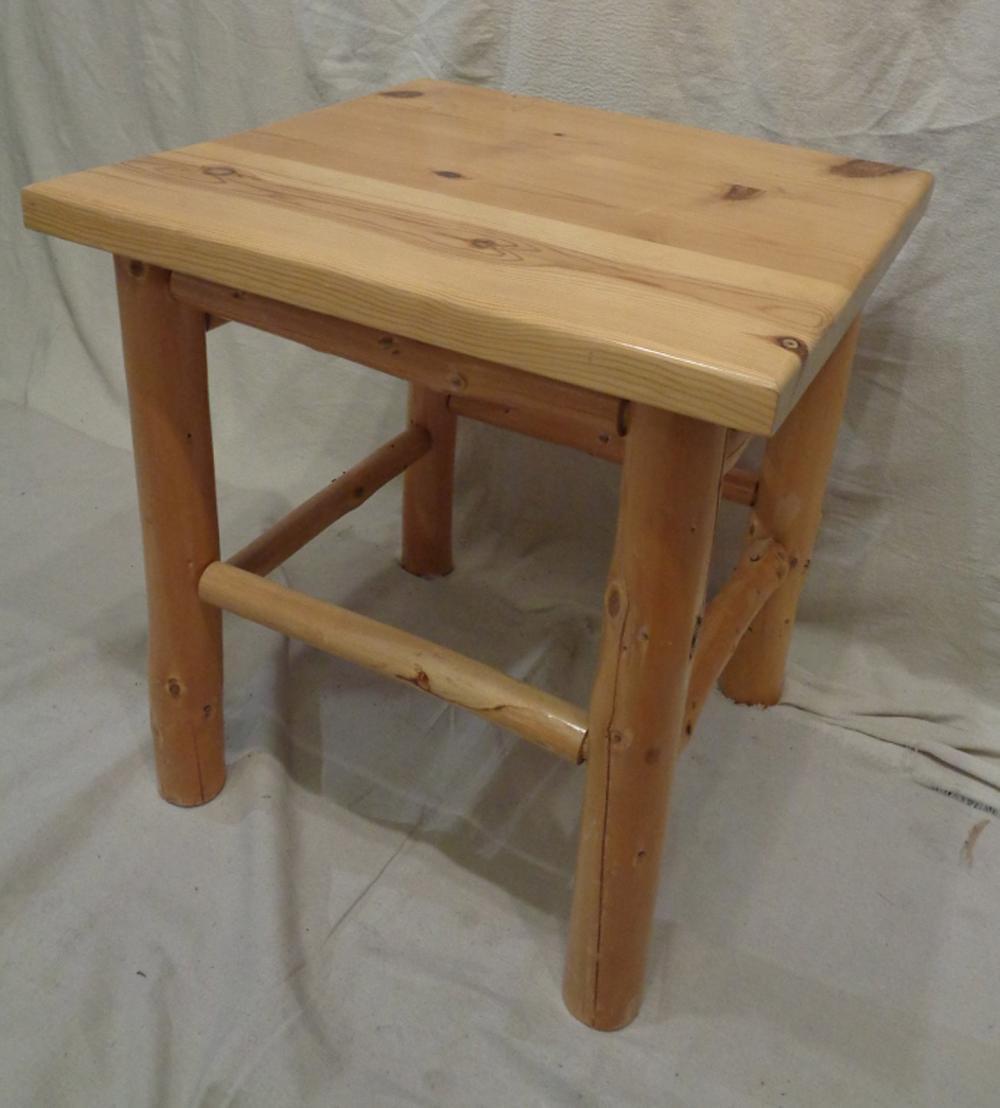 vintage rustic douglas fir pine log side table. Black Bedroom Furniture Sets. Home Design Ideas