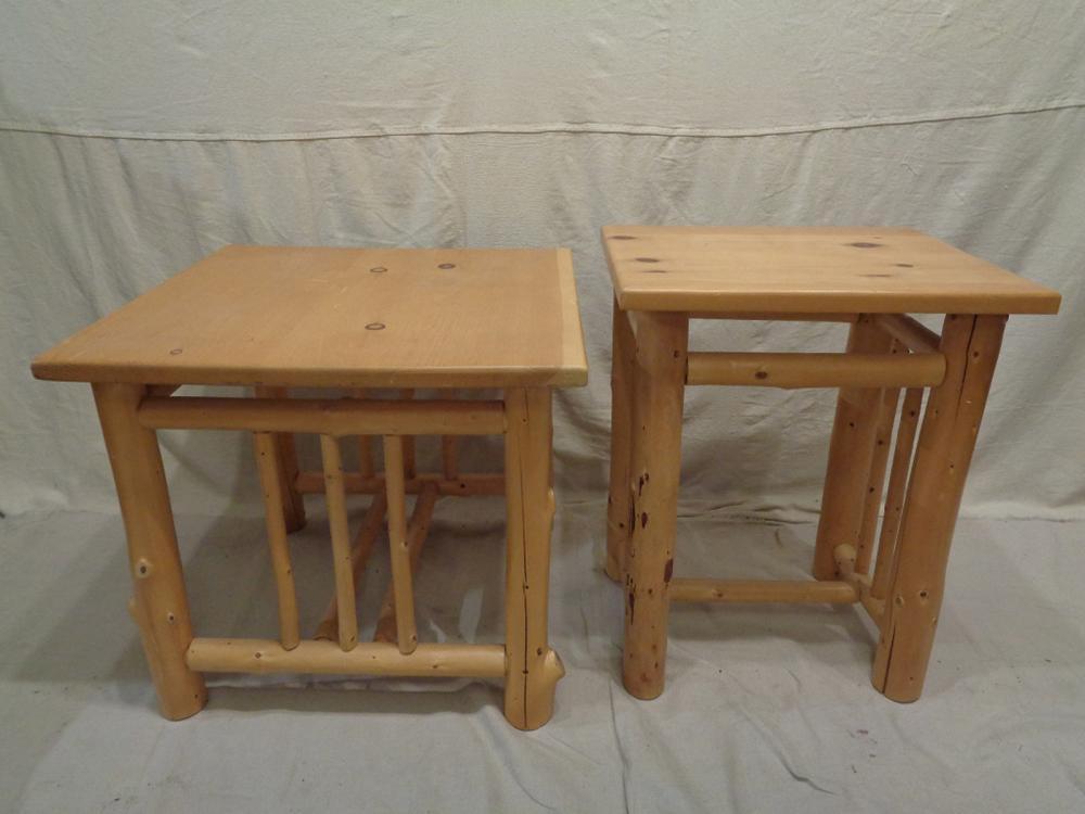two vintage rustic douglas fir pine log side tables. Black Bedroom Furniture Sets. Home Design Ideas