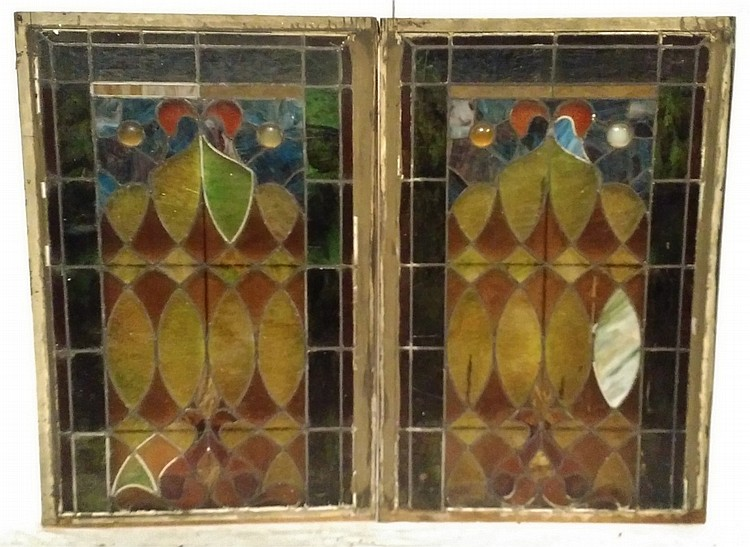 Lot Of 2 Decorative Stained Glass Windows