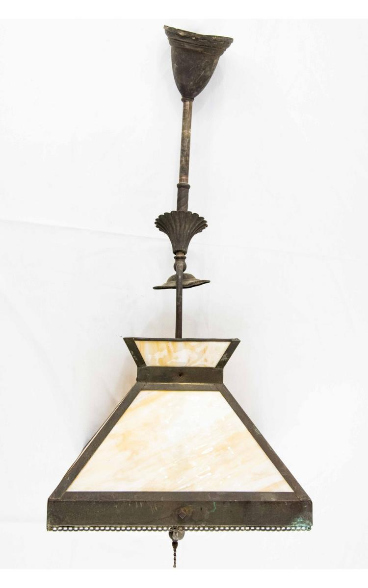 Slag Glass Lamp Gas Hanging Light Fixture