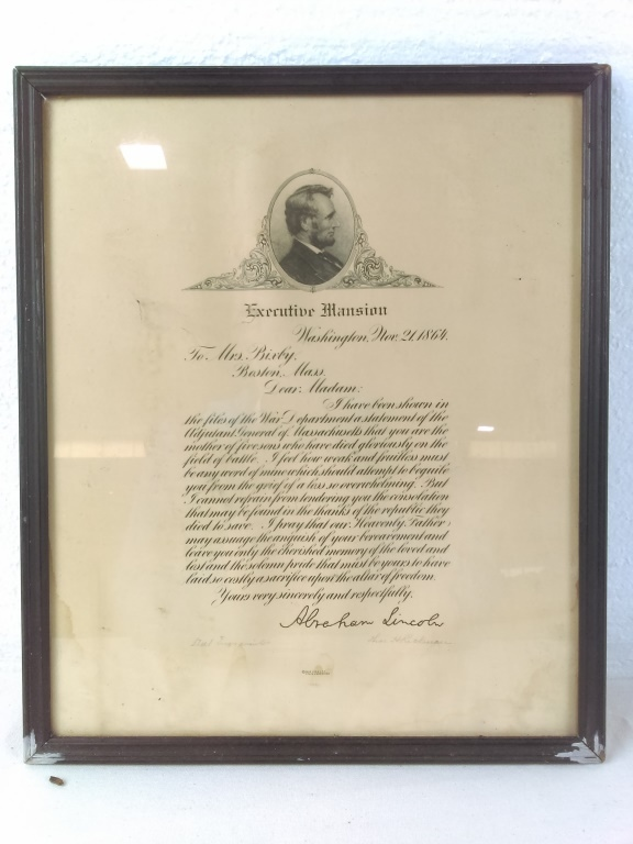 Sold Price  Lincoln Bixby Letter Print