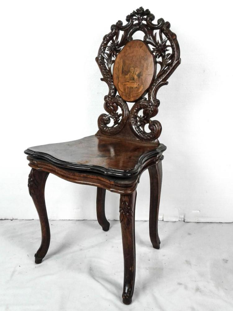 inlaid wood german black forest musical chair 1898. Black Bedroom Furniture Sets. Home Design Ideas