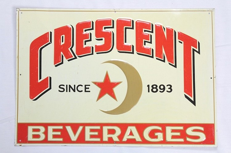 Crescent Beverages Single Sided Tin Sign