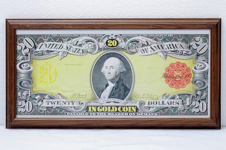 Framed Reproduction of a $20 Gold Certificate