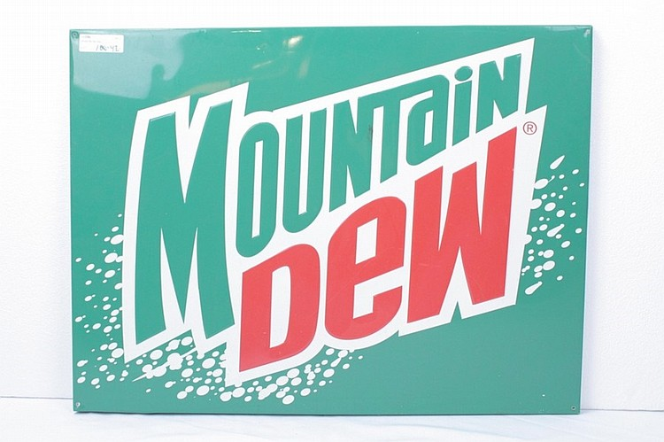 Mountain Dew Tin Display Sign