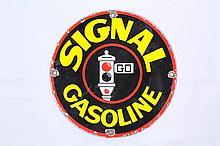 Signal Gasoline Porcelain Gas Pump Plate