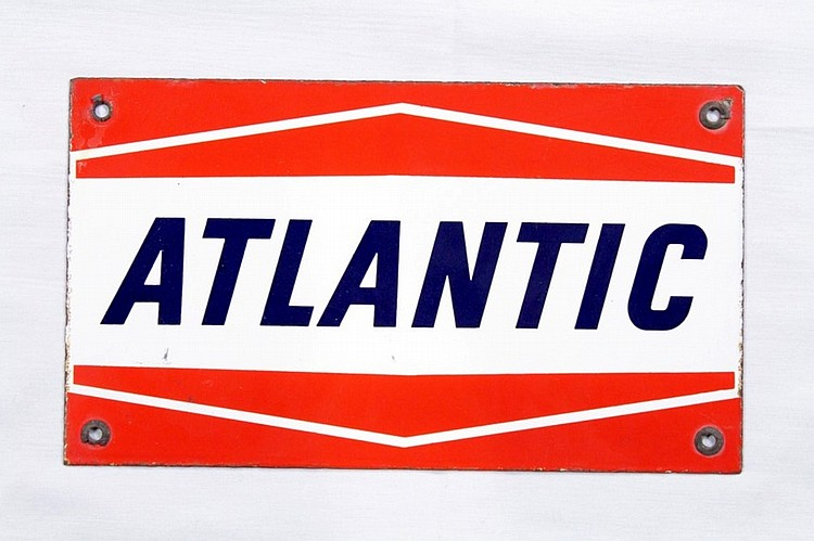 Original Atlantic Gas Porcelain Gas Pump Plate