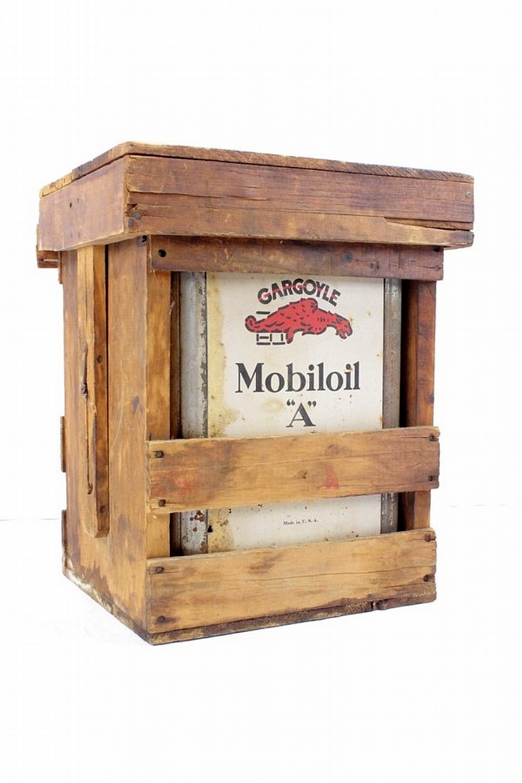 Mobil Mobiloil A Can in Original Wooden Crate