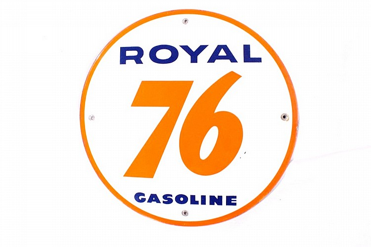 Royal 76 Gasoline Porcelain Gas Pump Plate
