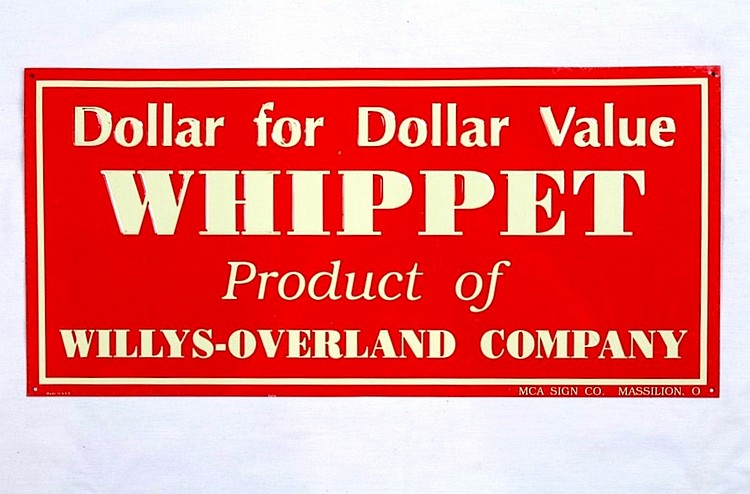 Original Whippet Willys SST Embossed Sign