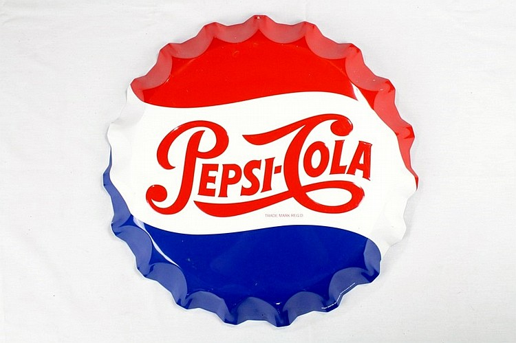 Original Pepsi Cola SST Bottle Cap Sign