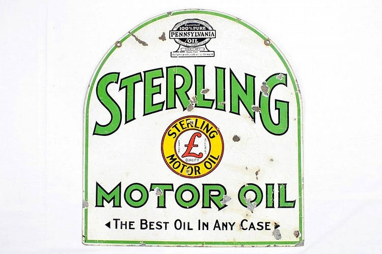 Rare Sterling Motor Oil Tombstone DST Sign