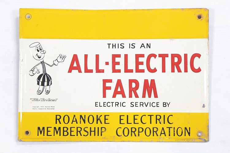 Willie Wirehand All Electric Farm SST Sign