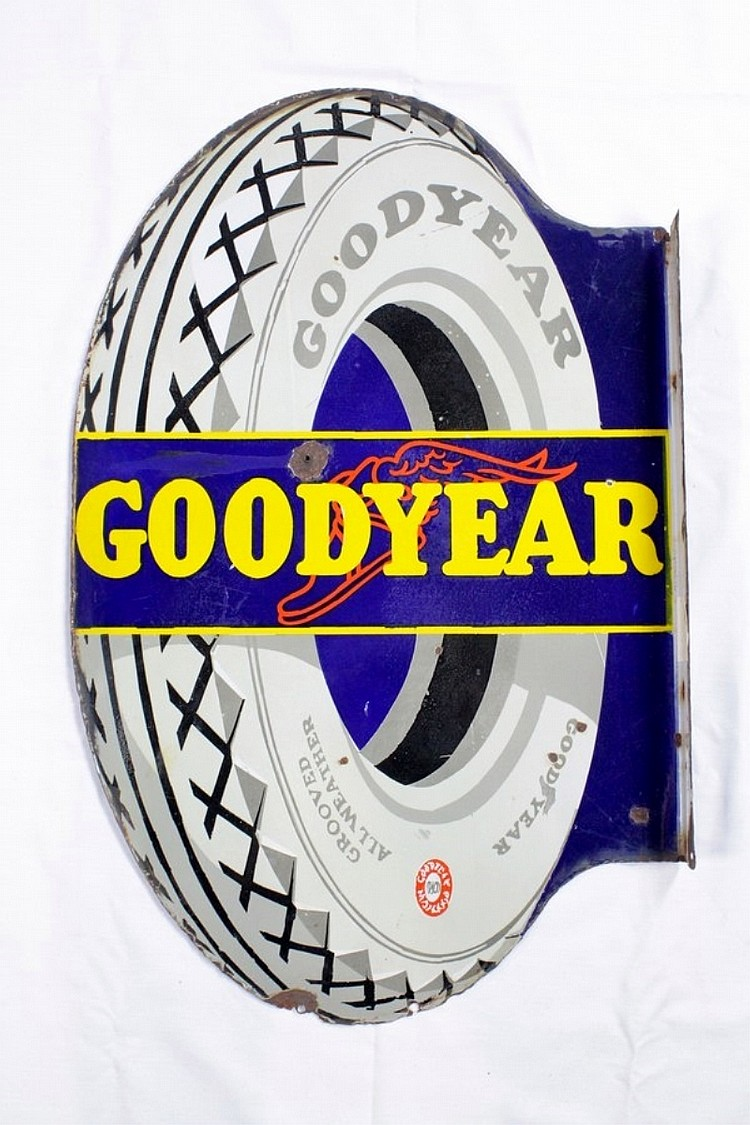 Goodyear Double Sided Porcelain Flange Sign