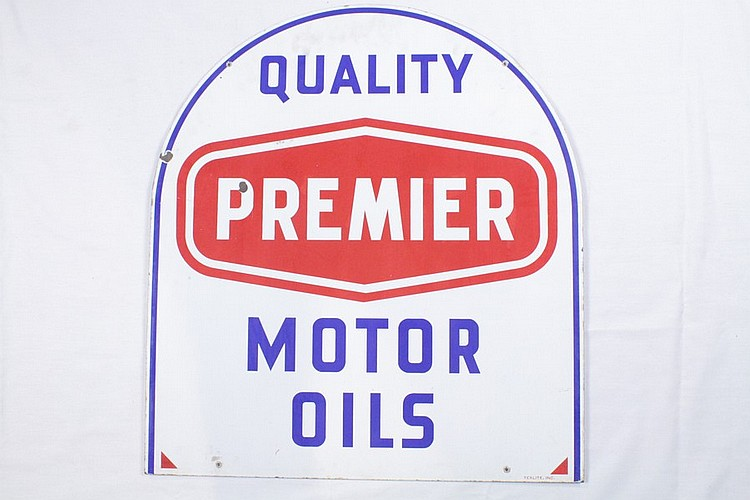 Original Premier Motor Oil DST Tombstone Sign