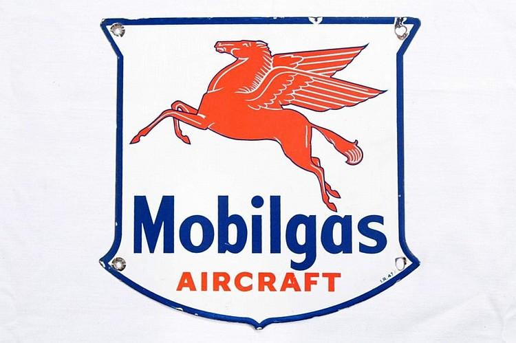 Rare Mobilgas Aircraft Porcelain Gas Pump Plate