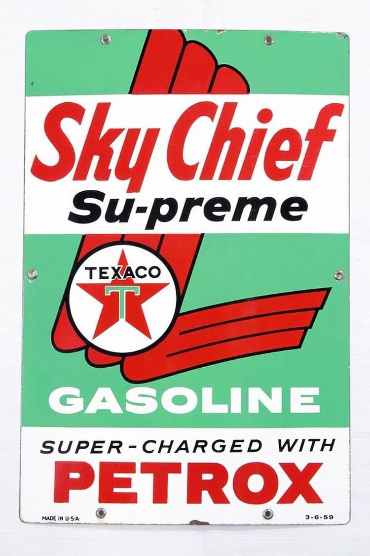 Original Texaco Sky Chief Porcelain Gas Pump Plate