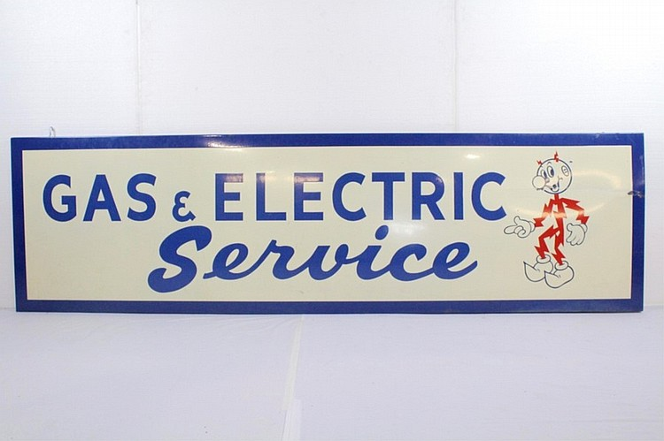 Gas & Electric Service Porcelain Sign