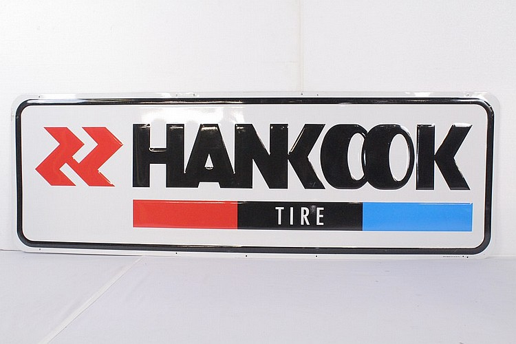Hankook Tire Single Sided Tin Embossed Sign