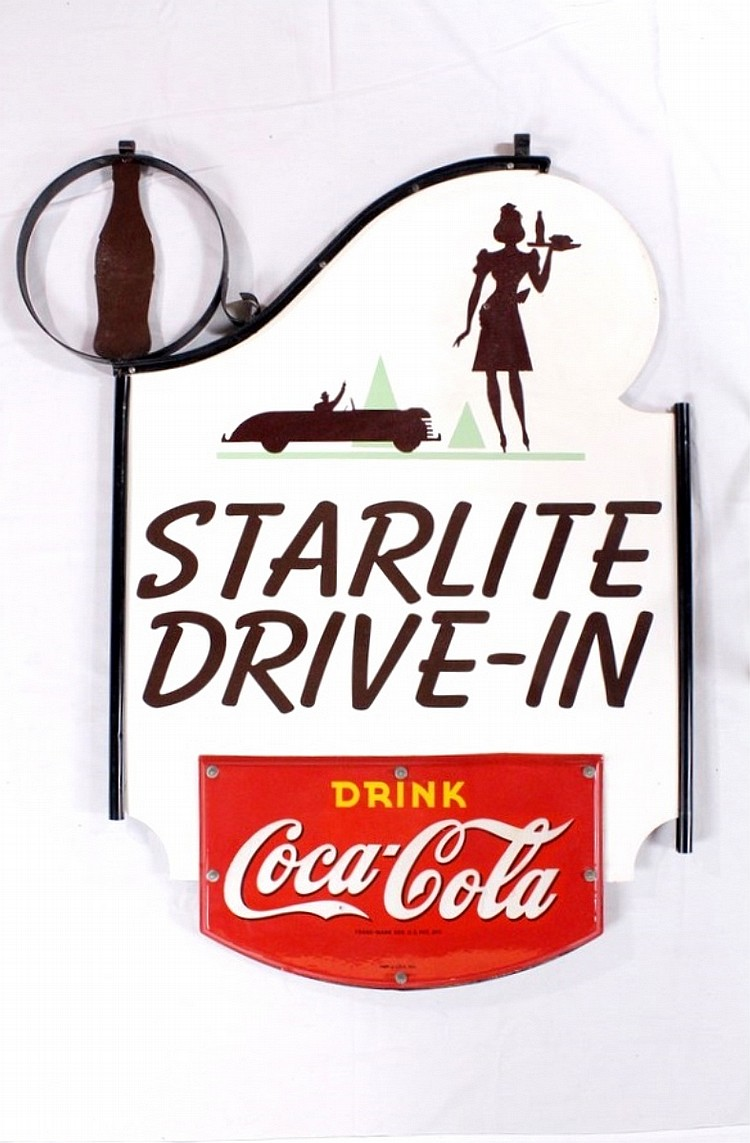 Orig. Coca Cola Starlight Drive-In DSP Hanger Sign