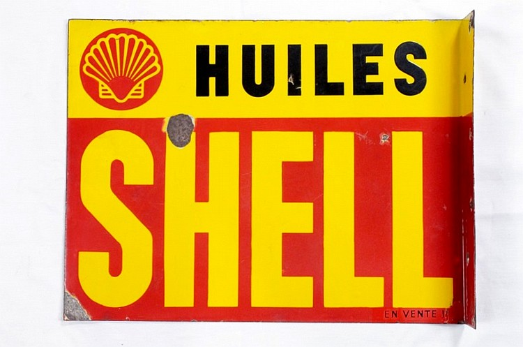 Shell Huiles Double Sided Porcelain Flange Sign