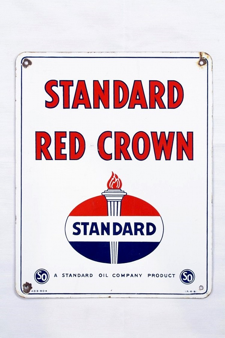Standard Gasoline Porcelain Gas Pump Plate
