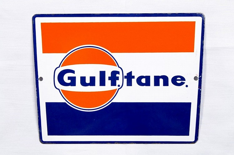 Gulf Gulftane Porcelain Gas Pump Plate Sign