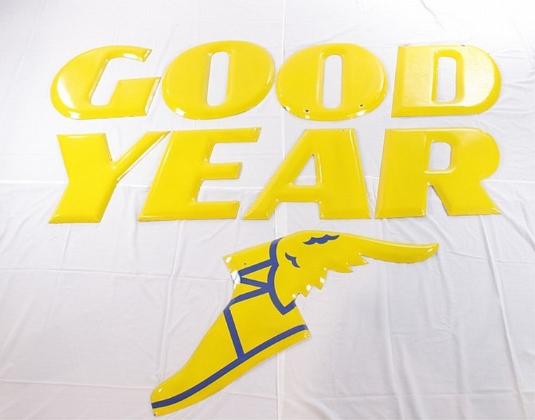 Goodyear Tires Porcelain Letters with Winged Foot