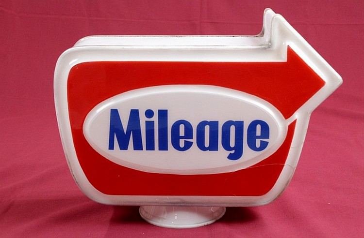 Mileage Gasoline Arrow Gas Pump Globe Cast Plastic