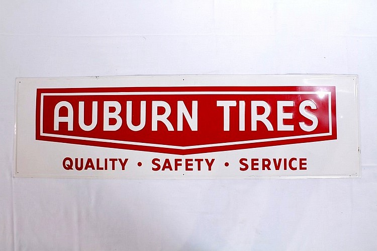 Auburn Tires Single Sided Embossed Sign
