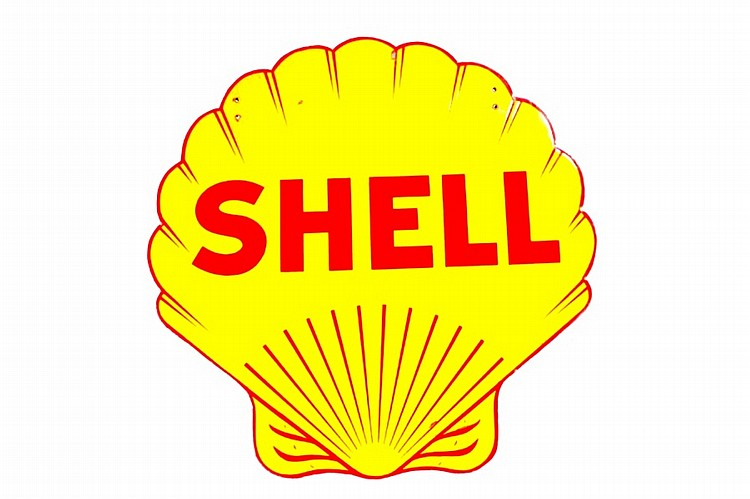 Original Shell Diecut Double Sided Porcelain Sign