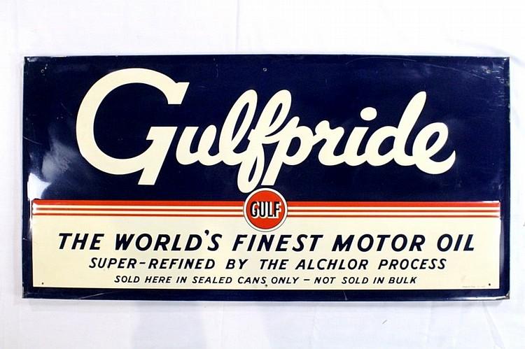 Original Gulf Gulfpride Motor Oil SSTE Sign