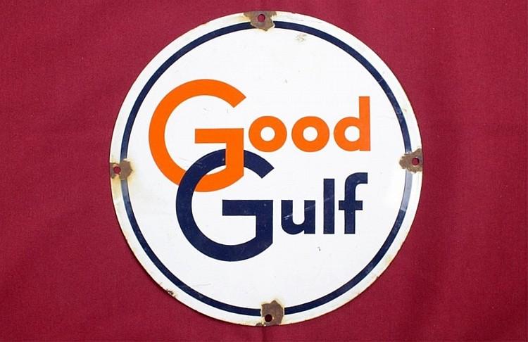 Original Good Gulf Porcelain Pump Plate