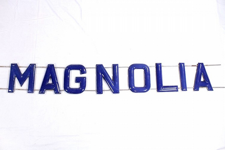 Original Magnolia Oil Porcelain Sign Letters