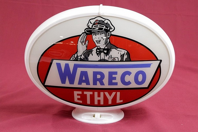 Rare Wareco Ethyl Gas Pump Globe Orig. Oval Capco