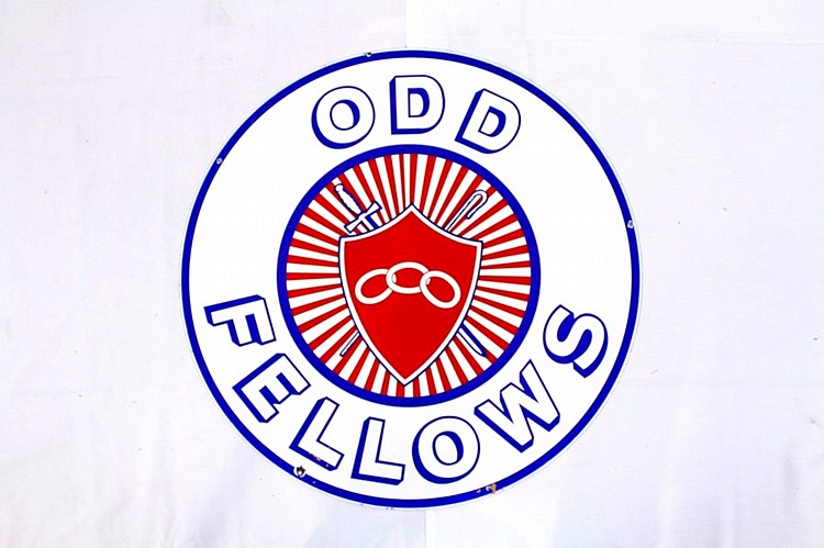 Odd Fellows Double Sided Porcelain Sign