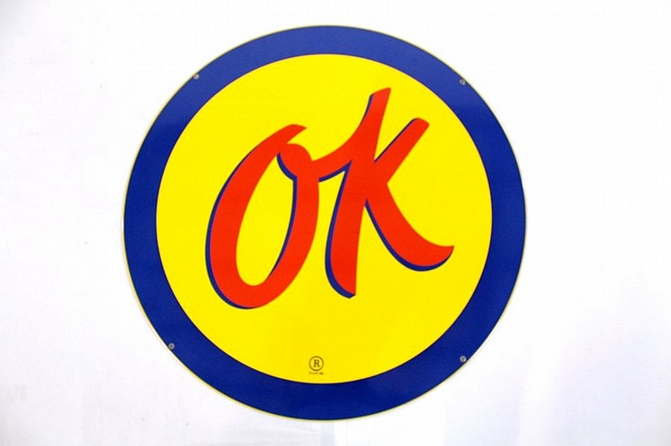 OK Used Cars Single Sided Porcelain Sign