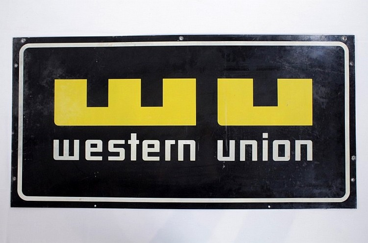 Western Union Single Sided Porcelain Sign