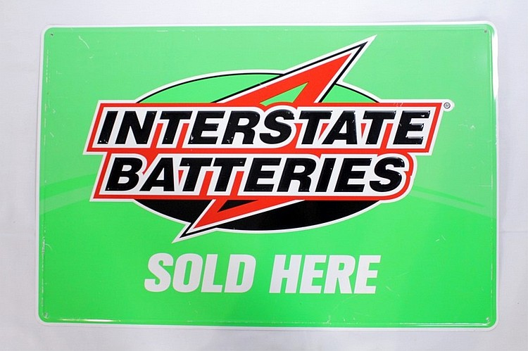 Interstate Batteries Single Sided Tin Sign