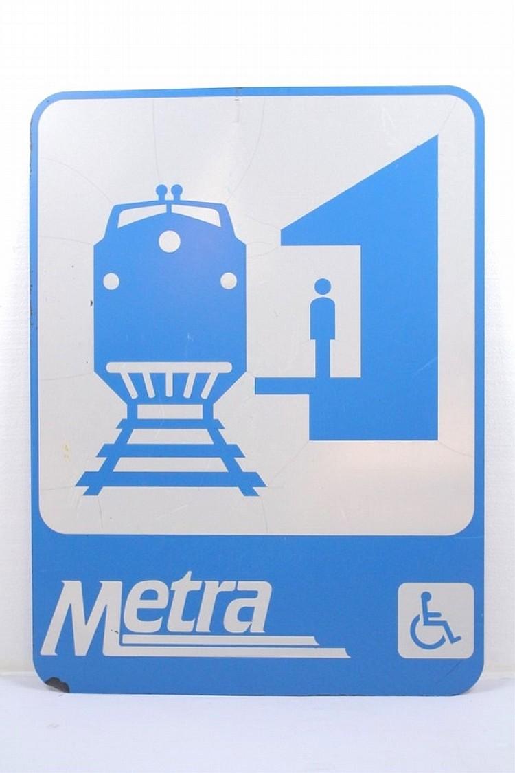 Metra Rail Train Depot Sign