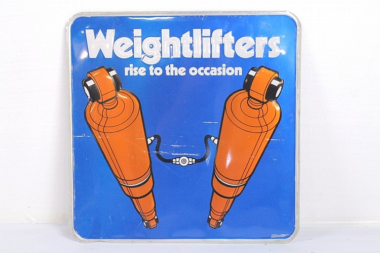 Weightlifters Shock Absorbers Tin Sign